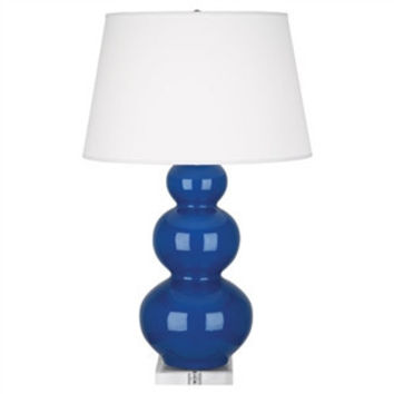 Robert Abbey | Marine Blue Triple Gourd Table Lamp with Lucite Base