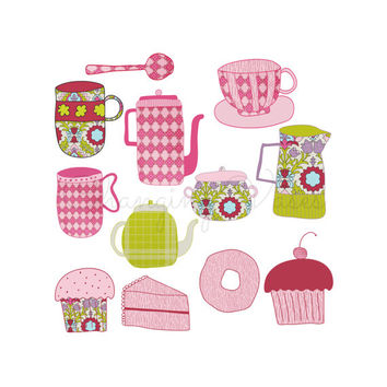 Tea Party Clipart Fun and Floral Tea Cup Clip Art, Pink and Green Graphics, Floral Flower Pattern Coffee Pot Coffee Cup, Tea Set
