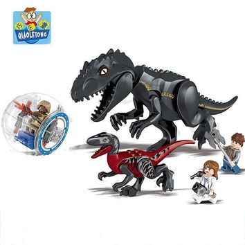 Jurassic World Dinosaurs Figures Bricks Jurassic Tyrannosaurus Dolls Assemble Model Building Blocks Kits With Legoings Kids Toys