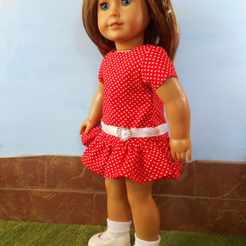 Red and White Doll Dress, Valentine's Day Doll Dress, Red Dress with Hearts, fits 18 inch Dolls such as American Girl Dolls