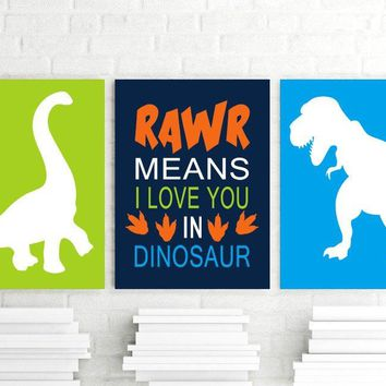 DINOSAUR Wall Art, Boy DINOSAUR Wall Decor, Big Boy Room Wall Decor, RAWR Means I Love You, Dinosaur Theme Pictures Set of 3 Canvas or Print