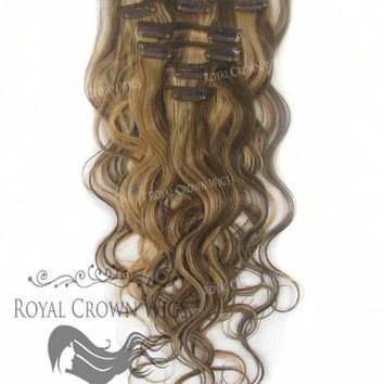 Brazilian 7 Piece Body Wave Human Hair Weft Clip-In Extensions in #4/#27