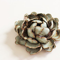 Peony Queen: Ceramic Sculpture ~ Rustic Decorations ~ Incense Burner #Autumn Forest (made to order under 1330 degree in kiln)