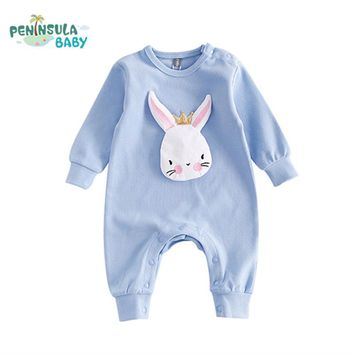 Autumn Newborn Baby Clothes Cartoon Rabbit Baby Rompers Long Sleeve Baby Girls Clothing Jumpsuits Roupas Babies Infant Costume