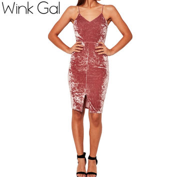 Wink Gal 2016 Women Winter Autumn dress bustier pencil celebrity sexy bodycon party dresses  pink velvet dresses D0132