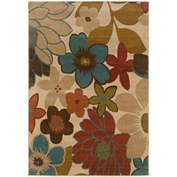 Ivory Multicolored Floral Design Area Rug (5' x 7'6)