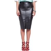 ESB78W Women PU Faux Leather Midi Pencil Bodycon Skirts 2016 New Plus Size Ladies Sexy Tube Skirt Saia Femininas