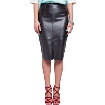 MDIGON Women PU Faux Leather Midi Pencil Bodycon Skirts 2016 New Plus Size Ladies Sexy Tube Skirt Saia Femininas