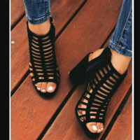 Hot style laser high-heeled Roman sandals with cut-out heels