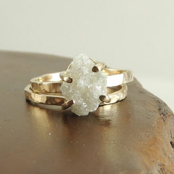 Rough Diamond 14k Gold Ring Prong Set Large by PointNoPointStudio