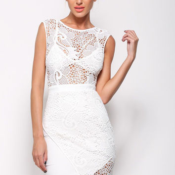 White High Round Neckline Mini Dress With Lace Accent