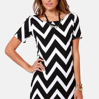 Top Chev Black Chevron Print Dress