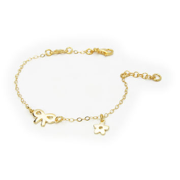 """Bracelet for Kids Sterling Silver Vermeil  Bow and Flower Charm 6""""+ 1"""""""