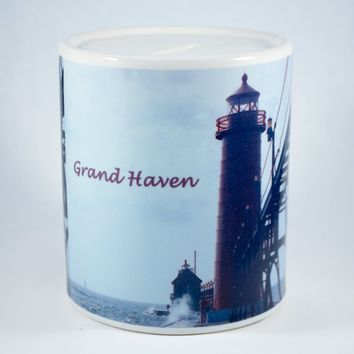 Coin Bank, Ceramic, Grand Haven Lighthouse Design
