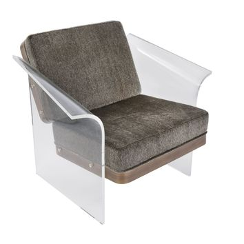Float Clear Chair Walnut Wood - Brown Faux Fur Fabric
