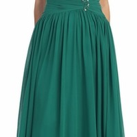 Studded Mesh Yoke Pleated A Line Hunter Green Evening Dress (5 Colors Available)