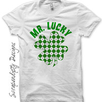 St. Patrick's Day Iron on Transfer - Iron on Shamrock Shirt / Mr. Lucky Kids Tshirt / Toddler St. Patrick's Day Shirt / Newborn Baby IT510