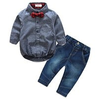 2016 autumn baby boy girl clothes Long sleeve rompers shirts+jeans baby boys clothes baby clothing set