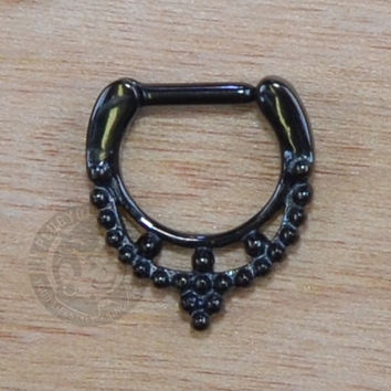 Black Beaded Collar Steel Septum Clicker