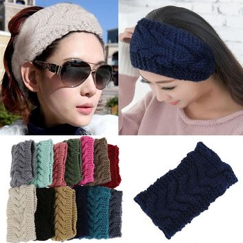 Promotion Winter Beauty Fashion 13 Colors Flower Crochet Knit Knitted Headwrap Headband Ear Warmer Hair Muffs Band Q1