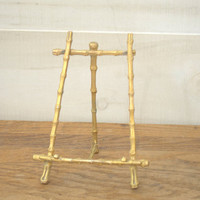 Metal Picture Easel Stand, Tabletop Picture Frame Easel, Gold Bamboo Photo Easel