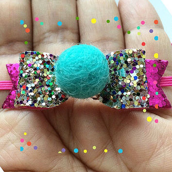 Summer Mint Pom Pom Mini baby Glitter bow, Glitter headbands Baby bows headband, Summer bows, Glitter bows with Pom Pom, Felt Pom poms bows