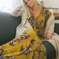 Bethany Mustard Floral Wrap Maxi Dress