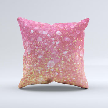 The Glowing Pink and Gold Orbs of Light ink-Fuzed Decorative Throw Pillow