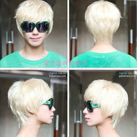New Men Women Short Platinum Blonde Heat Resistant Cosplay Hair Wig Free Cap