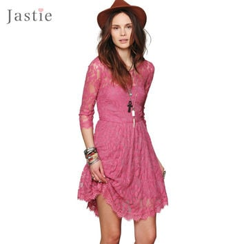 Floral Mesh Summer Style Boho People hippie embroidery Sheer lace dresses Bottom hem is trimmed with scalloped lace(No lining)