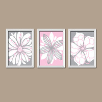 Pink Gray Wall Art Canvas Artwork Baby Room Flower Petal Burst Outline Dahlia Floral Bloom Set of 3 Prints Decor Bedroom Nursery Three