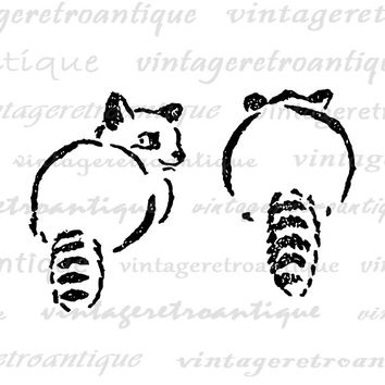 Printable Raccoons Image Graphic Cute Nursery Art Digital Two Raccoons Download for Transfers Pillows Tea Towels etc HQ 300dpi No.4632