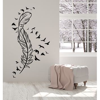 Vinyl Wall Decal Feather Flying Birds Freedom Bedroom Interior Stickers Mural (g3019)