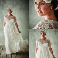 Plus Size Wedding Dress Half Sleeves Chiffon Lace Bridal Dress Size 20W 22W 24W