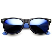 Retro 80's Horned Rim Two-Tone Neon Mirrored Lens Sunglasses 8911