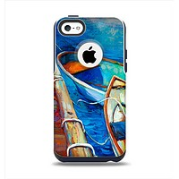 The Colorful Pastel Docked Boats Apple iPhone 5c Otterbox Commuter Case Skin Set