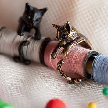 Vintage Handmade Cute Animal Cat Ring for Women Girls Men Christmas Kitty Tail Fashion Party Jewelry Pet Lover Gift Accessories