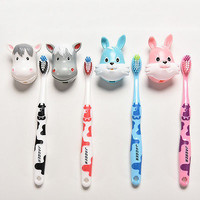 Cute Rabbit Cow Kids Soft Toothbrush with Holder for Children Boy Girl