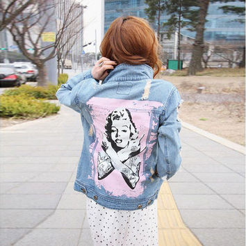 Women's new casual loose Marilyn Monroe print denim jacket Lady's fashion hole ripped coat Female outerwear Free shipping