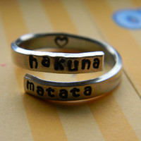Hakuna Matata //The original  twist aluminum ring dainty version