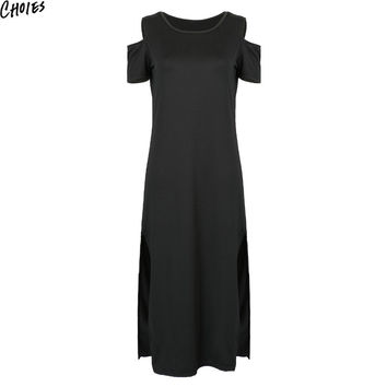 Women Black Cold Shoulder Sexy Side Split Short Sleeve Elegant Maxi Dress 2016 Summer New Casual O Neck Cut Out Long Clothing