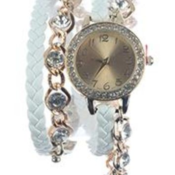 Crystal Stone Chain Braided Leather Band Wraparound Fashion Watch