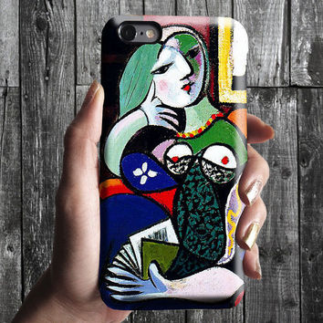 Woman with a Book - Pablo Picasso iPhone Case 6/6S, 6 Plus, 4S,5S. Mobile Phone Cell. Art Painting. Gift Idea. Anniversary. Gift for him/her