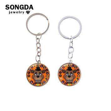 SONGDA  At Freddy Keychain Porte Clef Bonnie Freddy Foxy Clown Cartoon Photo Print Glass Cabochon 5 Key Ring