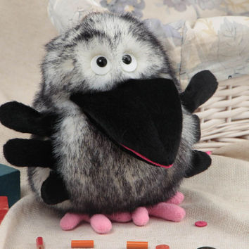 Handmade soft glove toy sewn of gray faux fur Crow for home puppet theater