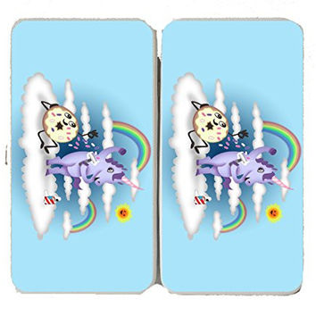 'Donut Unicorn Shaving in Clouds' Funny Mystical Artwork - Taiga Hinge Wallet Clutch