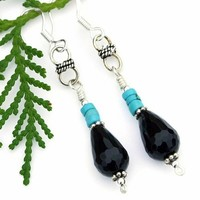 Black Onyx Teardrop Rustic Turquoise Handmade Earrings Unique Jewelry