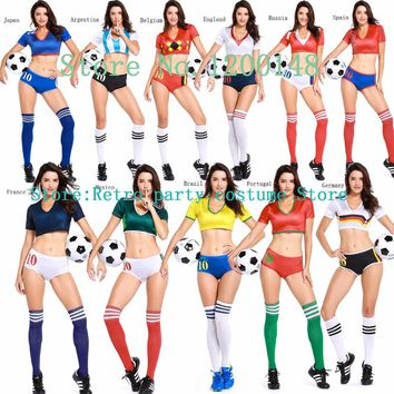 world cup football costume Spain Russia World Cup Sexy Women's Fantasy Football Adult Role Play Cosplay Lingerie Costume Set