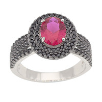 Pigeon Blood Red Gem Ruby Black Spinel Ring Round For Women Wedding Romantic Pure Solid 100% 925 Sterling Silver Fine Jewelry