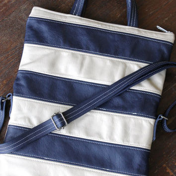 Navy and Cream Leather Striped Fold Over Purse, Cross Body Strap, Handmade leather purse. womens nautical purse, premium italian leather
